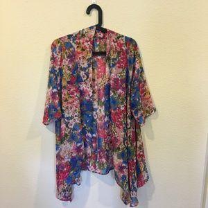 Meritt Tops - Meritt overlay floral confetti chiffon kimono